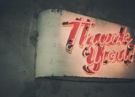 Neonlampen met Thank You