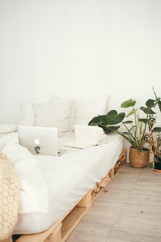 Lichte, witte slaapkamer. Inspiratie voor slaapkamers. Een laag bed met wit textiel en een kamerplant ernaast.